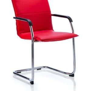 echo-cantilever-chair-red-bonded-leather-with-arms