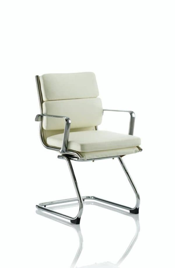 Savoy-Cantilever-Chair-Ivory-Bonded-Leather-With-Arms