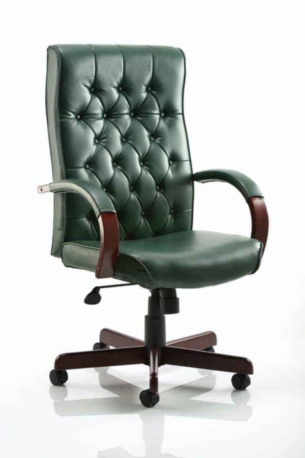 Chesterfield-Executive-Chair-Green-Leather-With-Arms