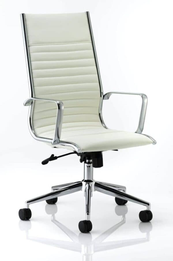 Ritz-Executive-High-Back-Chair-Ivory-Bonded-Leather-With-Arms