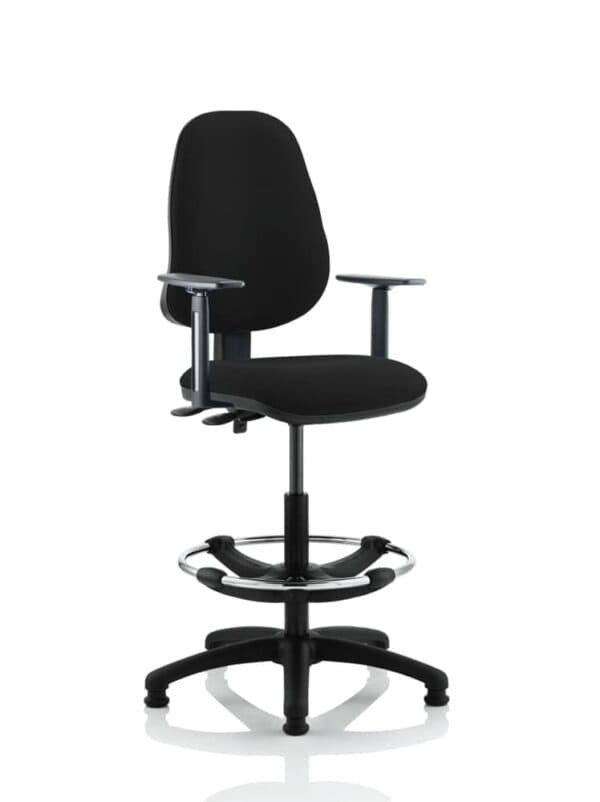 Eclipse-Ii-Lever-Task-Operator-Chair-Black-With-Height-Adjustable-Arms-With-Hi-Rise-Draughtsman-Kit