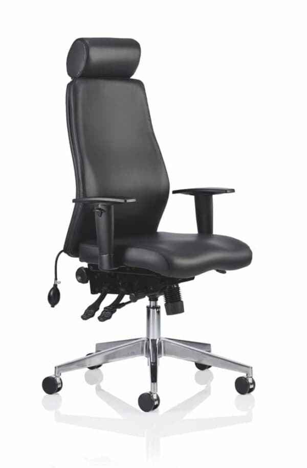 Onyx-Ergo-Posture-Chair-Black-Bonded-Leather-With-Headrest-With-Arms